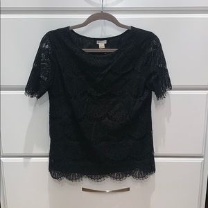 J.Crew work blouse, black lace